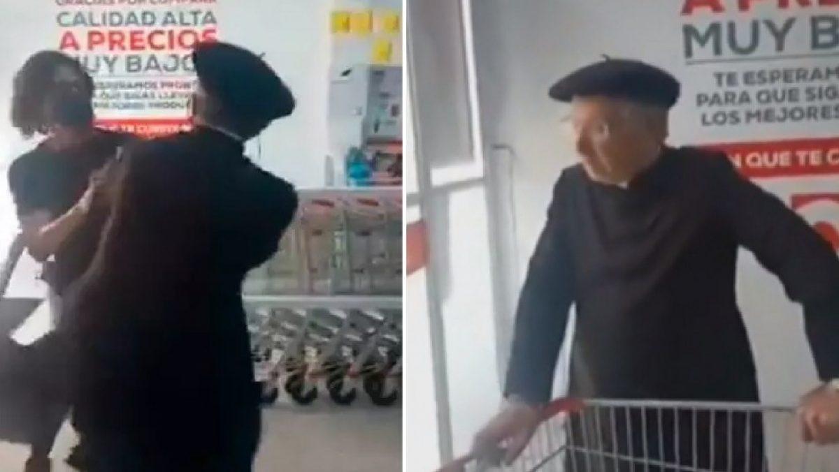 VIDEO |Sacerdote atacó con patadas a quienes le pidieron que usara mascarilla
