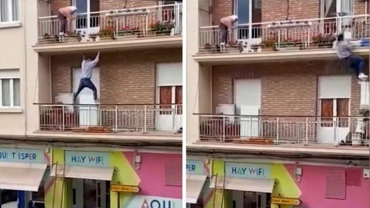 Hombre rescata a una adulta mayor a punto de caer desde un balcón
