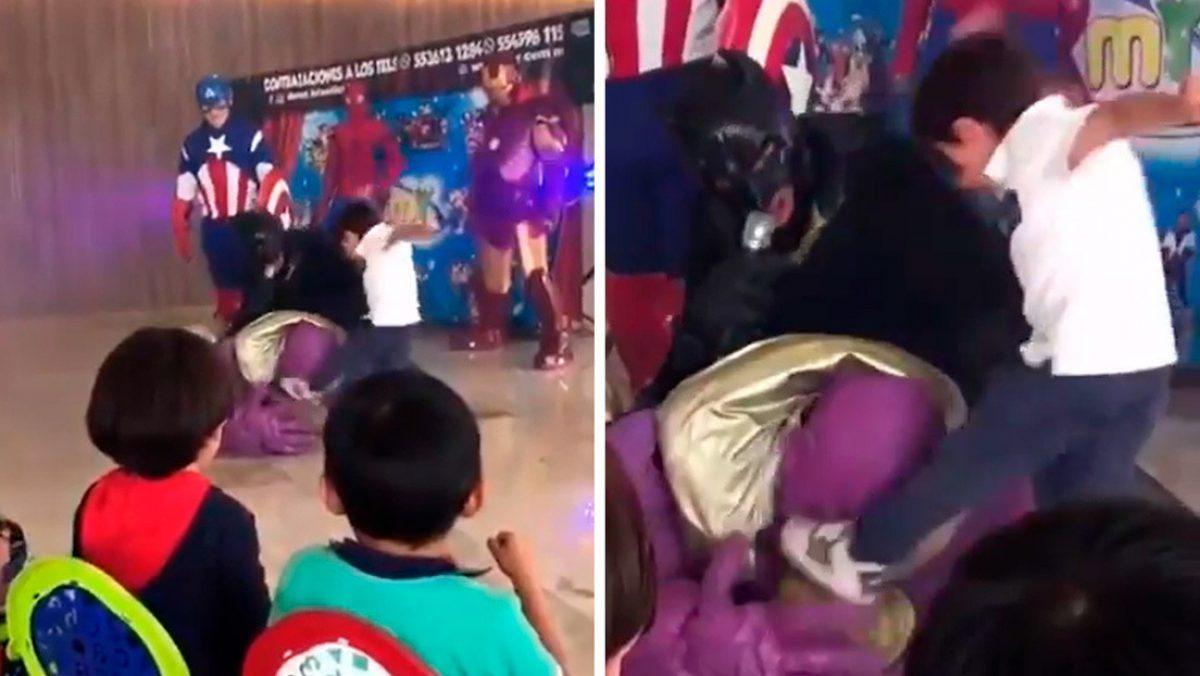 VIDEO |Un niño patea en la cabeza a Thanos en una fiesta infantil y se hace viral