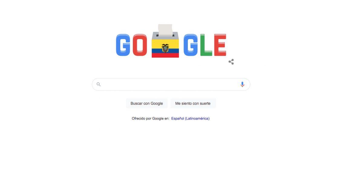 Google diseñó un doodle para este día de elecciones en Ecuador