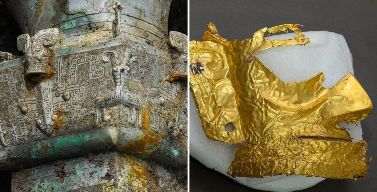 Descubren en China una máscara de oro de una misteriosa civilización de hace 3.000 años