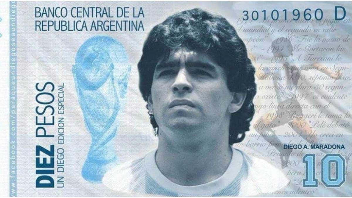 Así sería el billete de Diego Maradona según un proyecto de ley en Argentina