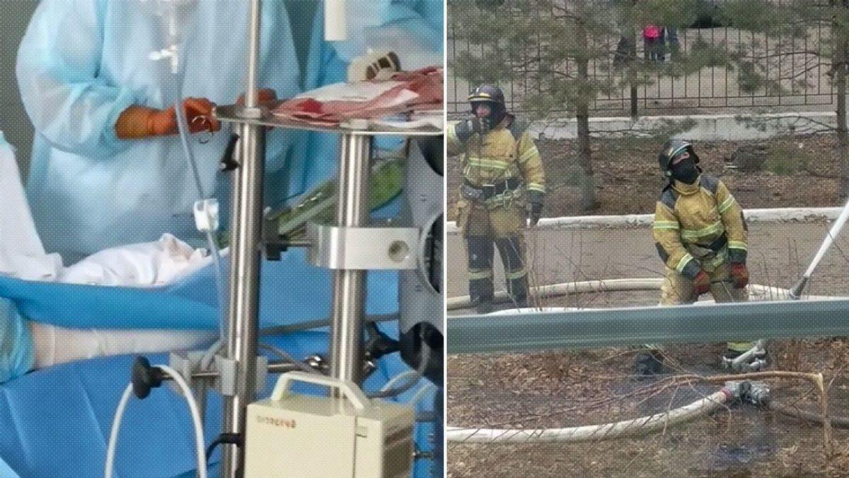 Médicos continúan con una cirugía mientras se está incendiando el edificio