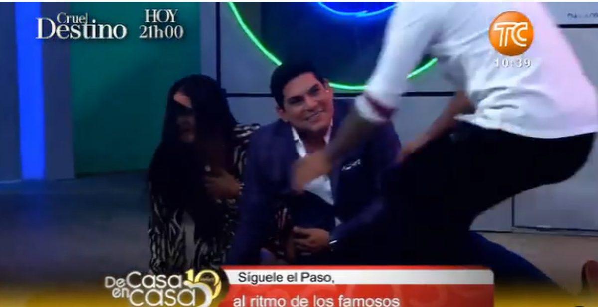 Emilio Pinargote se cae en pleno programa, mientras bailaba