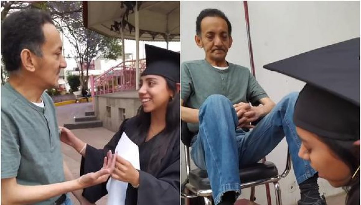 Una joven recién graduada sorprende a su padre lustrabotas con conmovedor gesto