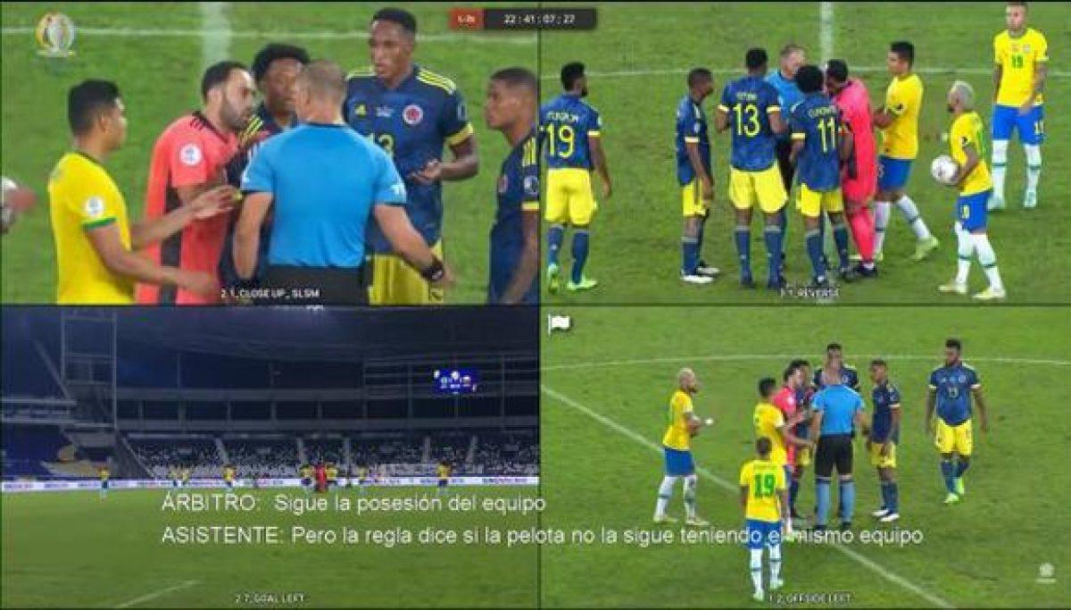 CONMEBOL revela los audios del VAR del partido Colombia y Brasil