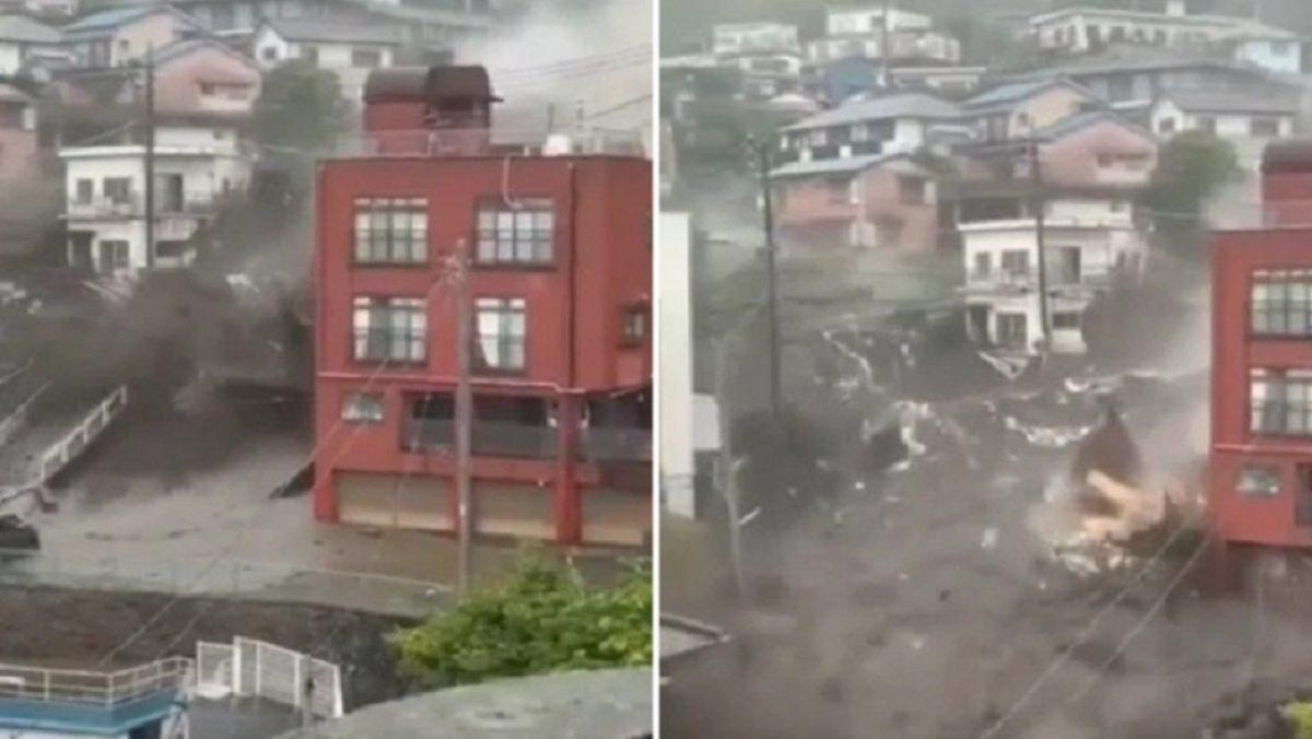 Impactantes imágenes del deslizamiento que arrasó con todo en Japón