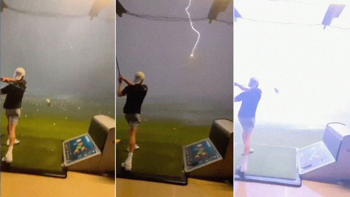 Una bola de golf es alcanzada por un rayo en pleno vuelo