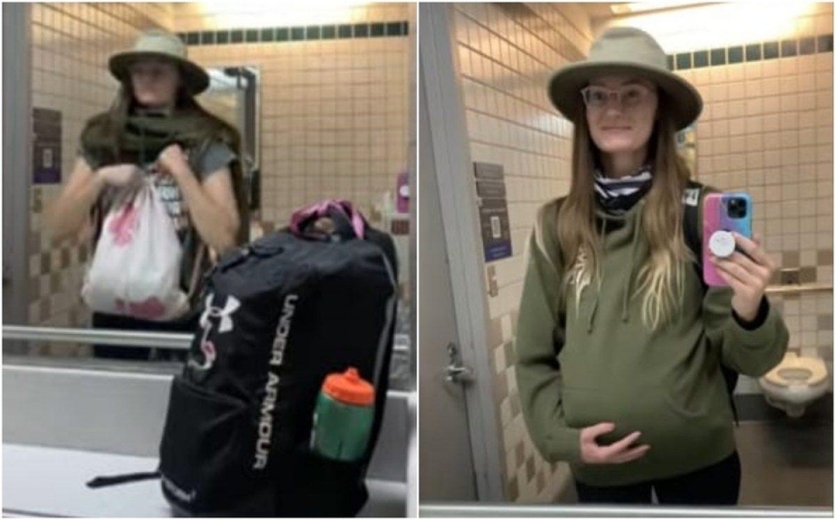 Mujer fingió embarazo y escondió una maleta para llevar una maleta extra en avión