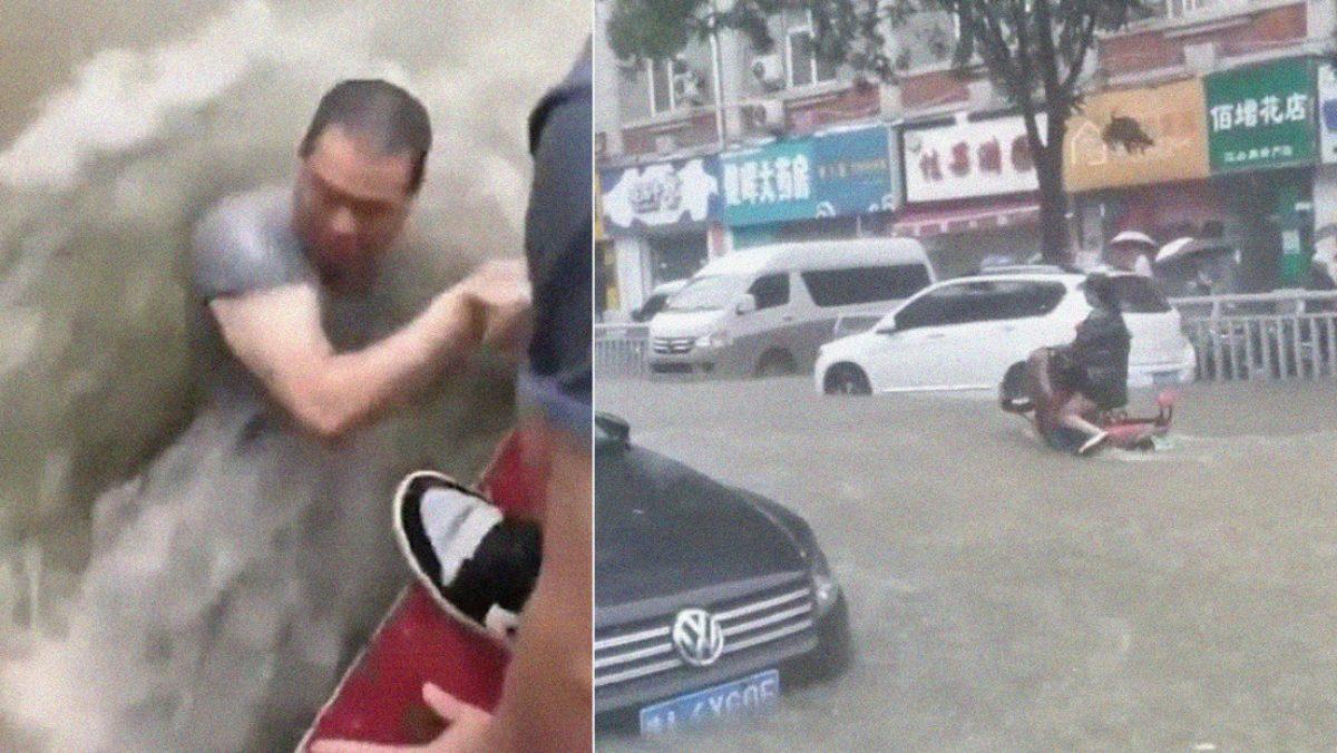 Fuertes inundaciones arrastran a personas y desaparecen carros en China