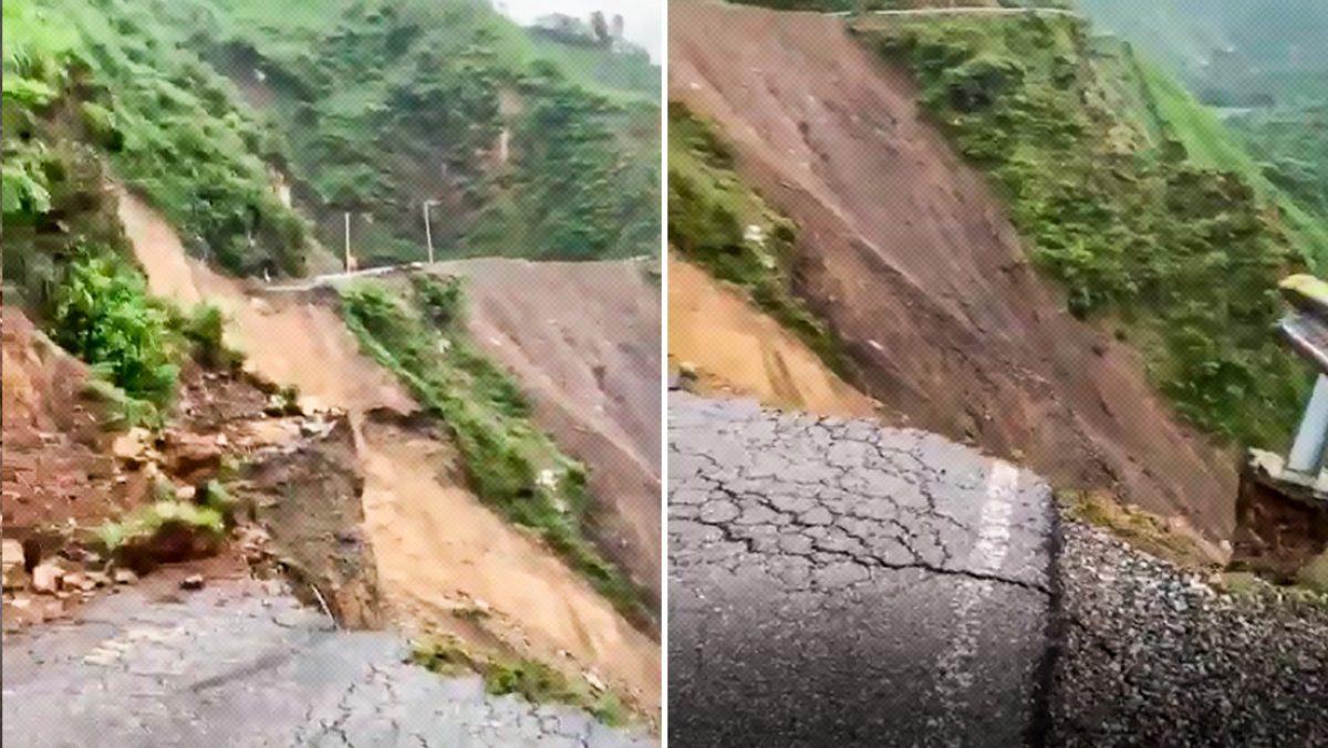 Un deslizamiento arrasó con una carretera de 100m en India