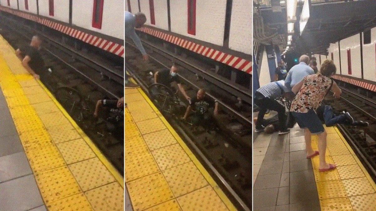 Salvan a hombre en sillas de ruedas que cayó en la vías de un tren