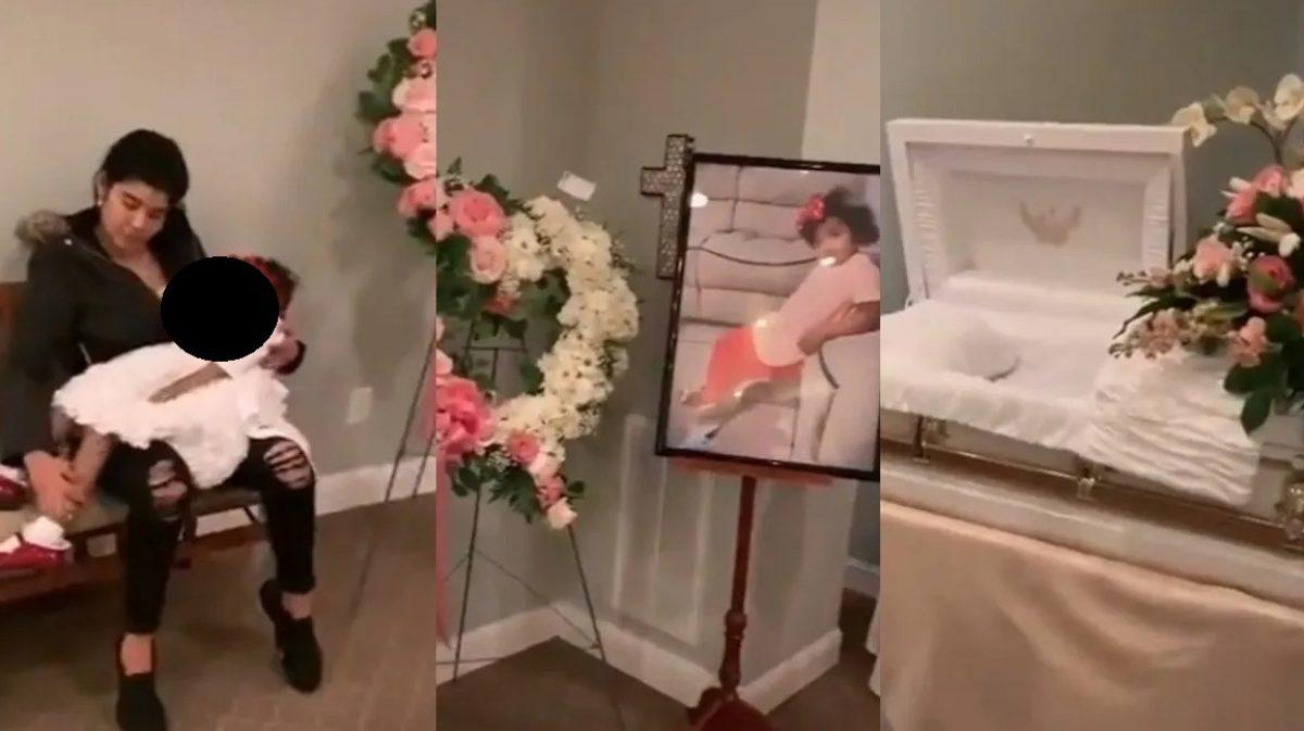 Madre saca a su hija muerta del ataúd para cargarla y cantarle el cumpleaños