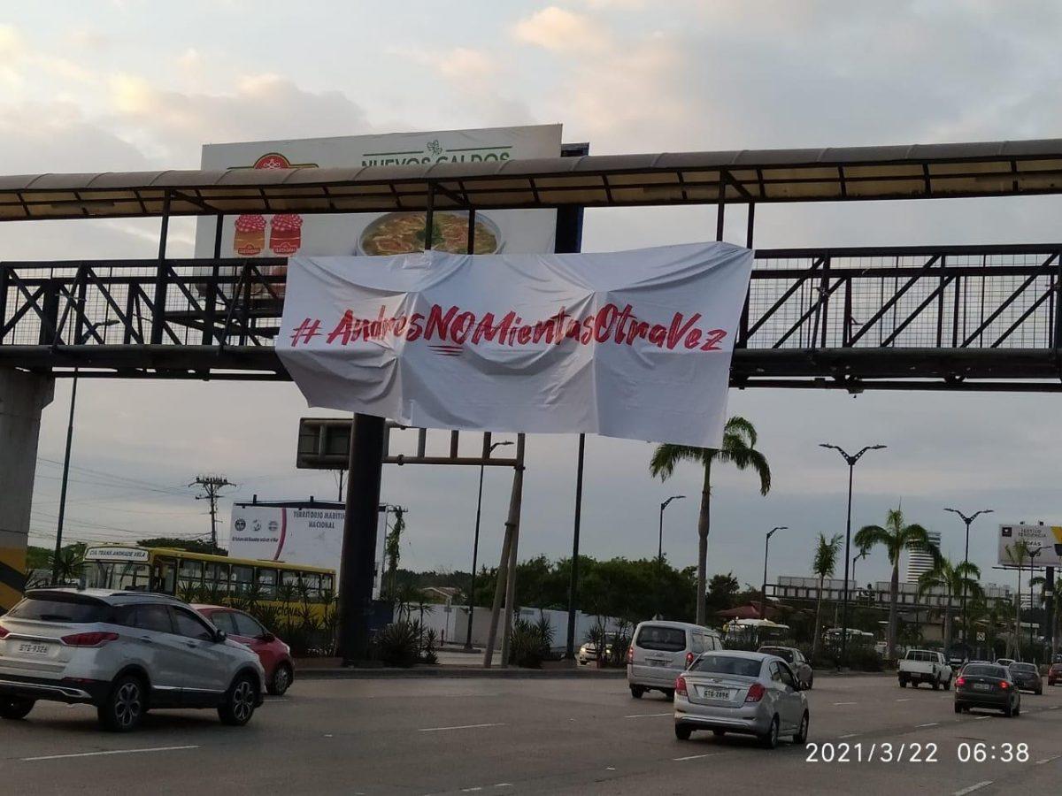 """Frase """"Andrés no mientas otra vez"""" fue vista en varios lugares de Guayaquil"""