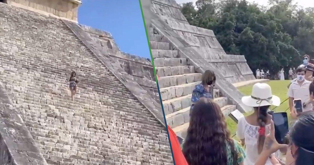 VIDEO: Una mujer rompió las reglas y subió al Chichén Itzá