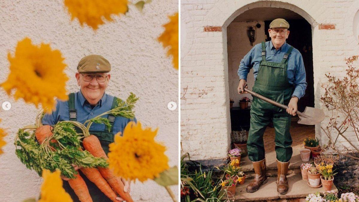 A los 72 años Granjero 'Rey de las verduras' triunfa como modelo de Gucci