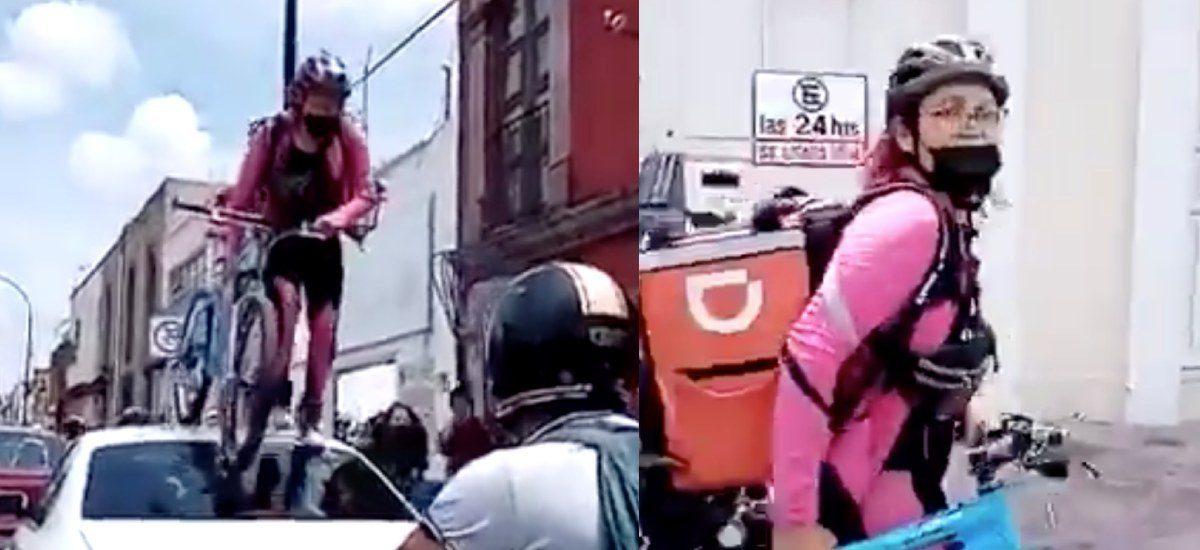Joven pasa por encima de un carro por parquearse en la ciclovía