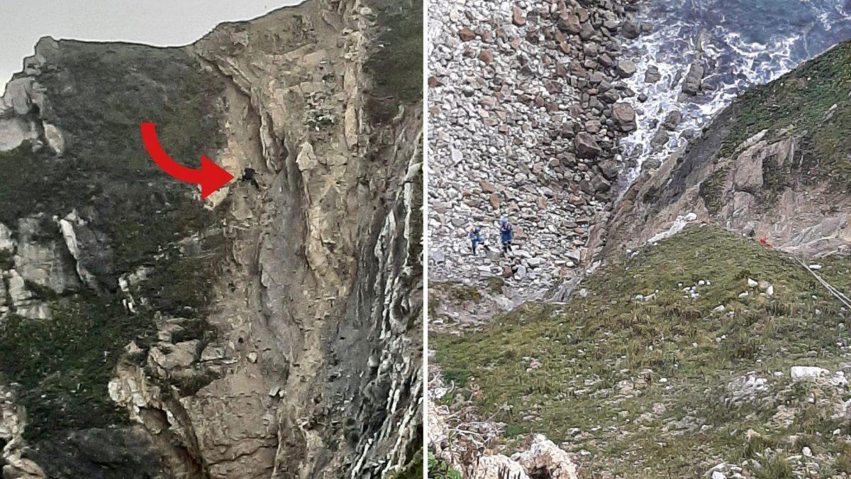 VIDEO | Así rescatan a un hombre atrapado en medio de un acantilado