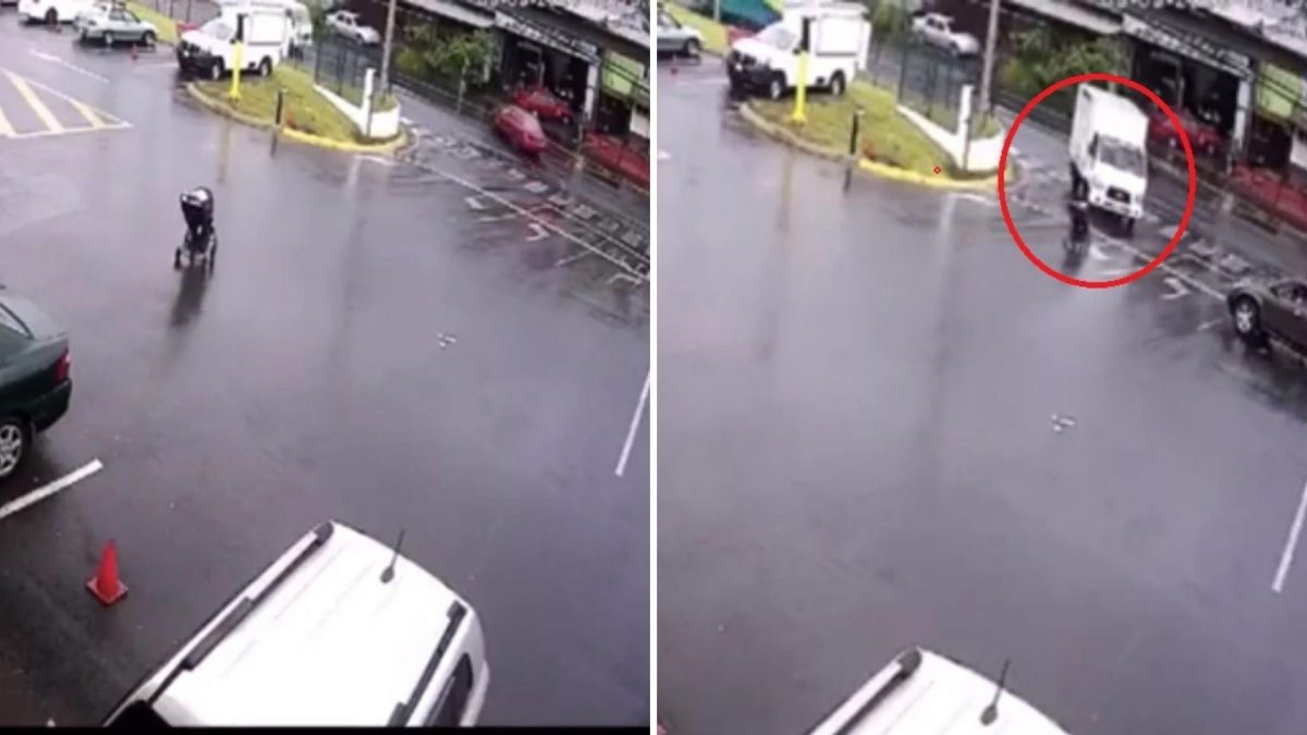 VIDEO | Bebé rueda por toda un calle dentro de su coche durante descuido de su madre