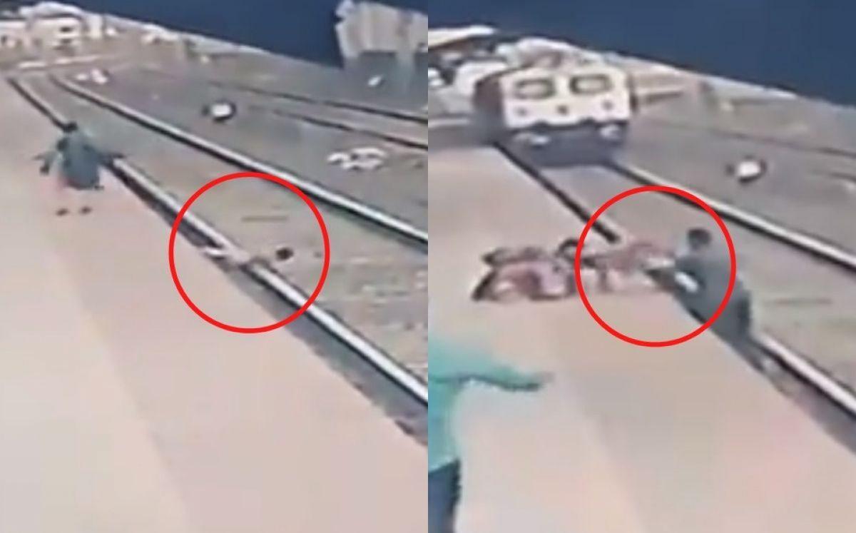 Hombre salva a un niño que cayó a las vías del tren