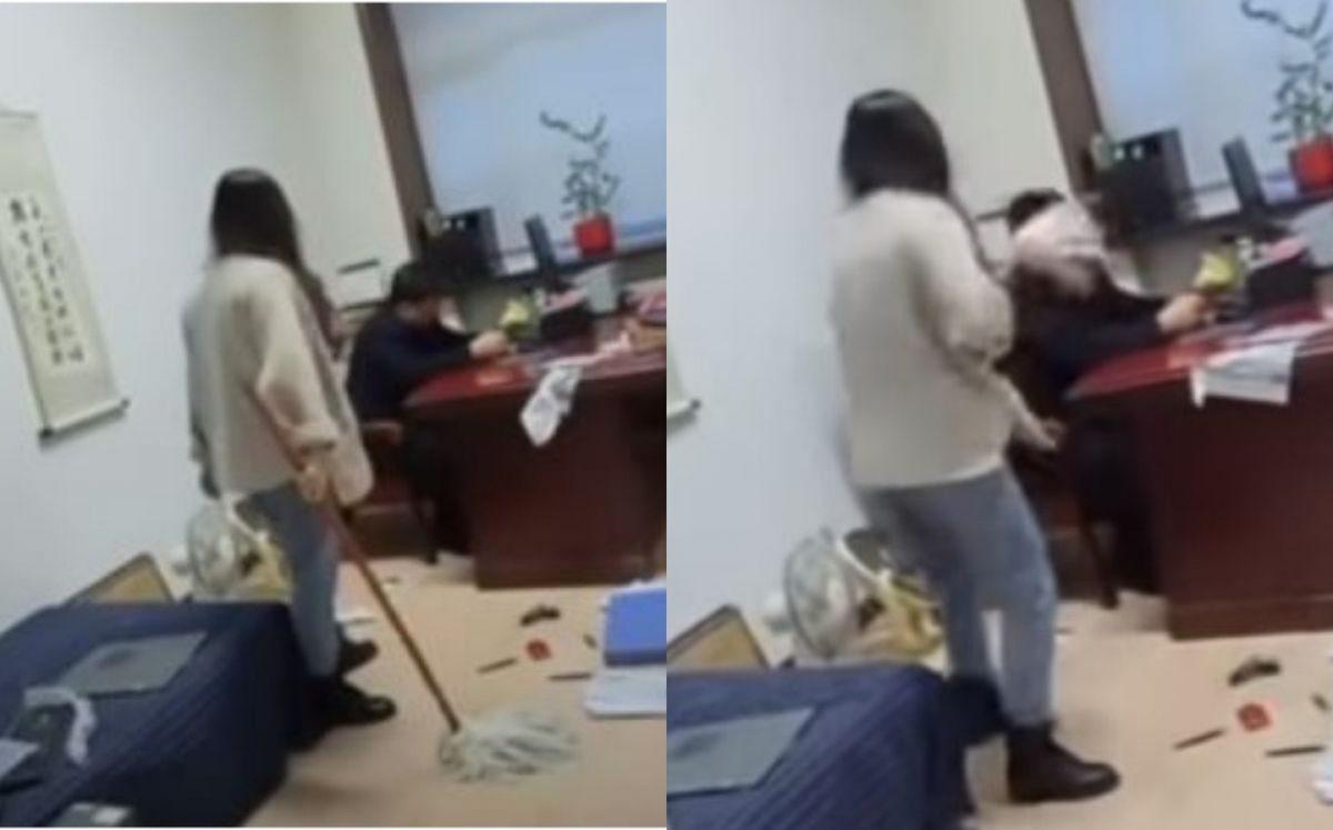 Mujer cansada de abuso sexual golpea con un trapeador a su jefe