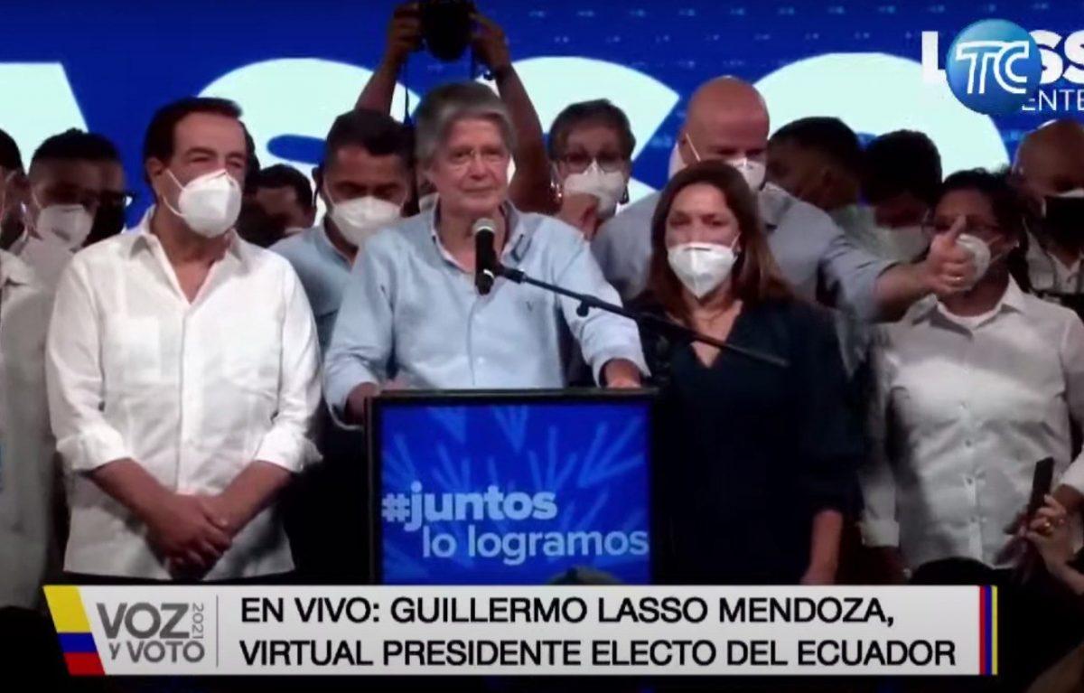 El primer discurso de Guillermo Lasso tras virtual triunfo en segunda vuelta electoral.