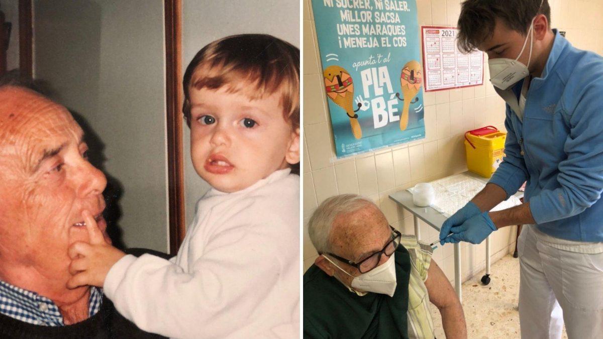 """Un joven enfermero vacunó a su abuelo contra el Covid: """"Una de las cosas más grandes que me ha pasado nunca"""""""