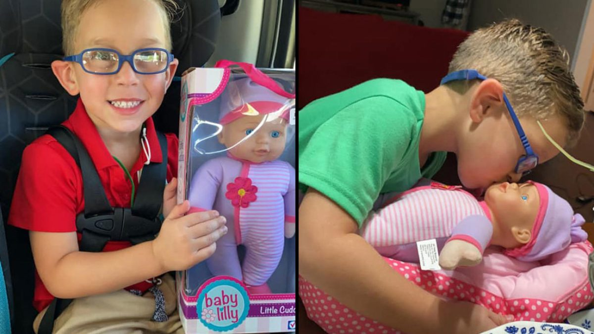 """FOTOS: Un niño pidió de regalo una muñeca para """"ser un gran padre"""""""