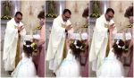 VIDEO  Niña le chocó la mano a un sacerdote cuando iba a ser bendecida y se volvió viral