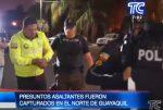 VIDEO | Tres sujetos que robaban en una gasolinera fueron capturados en Guayaquil: presuntos asaltantes vestían uniforme de la Policía Nacional