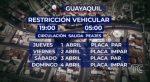 Restricción de tránsito vehicular en Guayaquil, Durán, Daule y Samborondón