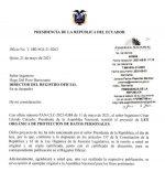 Ley de Protección de Datos Personales irá al Registro Oficial
