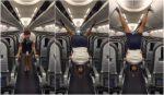VIDEO | Azafata usa sus piernas para cerrar compartimentos del avión: se vuelve viral en redes