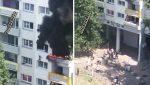 VIDEO: Niños saltan de un tercer piso para huir de un incendio