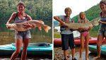 """Una mujer pesca un lucio de tamaño """"increíble"""" e iguala un récord de 40 años"""